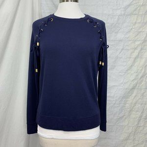 Michael Kors Small Top Navy Blue & Gold Lace Up